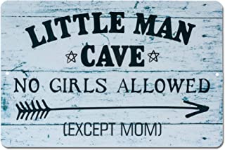 HOMANGA Funny Little Man Cave Metal Tin Sign, Decorative Wall Decor for Boys Room, Little Man Cave No Girls Allowed Bedroom Door Sign, for Son 12x8 Inch Black