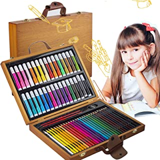 KINSPORY 64 PCS Portable Inspiration & Creativity Coloring Art Set Deluxe Painting & Drawing Supplies with Wood Box