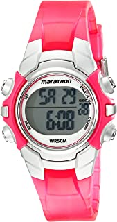 Marathon by Timex Women's T5K808 Digital Mid-Size Pink/Silver-Tone Resin Strap Watch