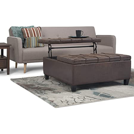 SIMPLIHOME Harrison 36 inch Wide Square Coffee Table Lift Top Storage Ottoman, Cocktail Footrest Stool in Upholstered Distressed Brown Tufted Faux Air Leather for the Living Room, Traditional