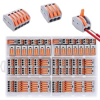 60 Pezzi Compact Connettore con Leva di Comando, 3 Tipi di Morsettiera Elettrici imballati separatamente, 20 Morsetti a 2 Vie, 30 Morsetti a 3 Vie, 10 Morsetti a 5 Vie