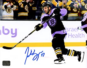 Patrice Bergeron Boston Bruins Signed Hockey Fights Cancer Warm Up Jersey 8x10