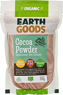 Earth Goods Organic Cocoa Powder, 100% natural and pure, non-alkalized, no added sugar, untreated. Naturally rich in antio...