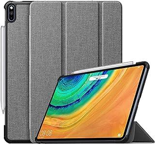 ATiC ファーウェイ MatePad Pro 10.8 ケース MatePad Pro 2020 保護カバー スタンドケース 上質PUレザー外装 マイクロファイバー裏地 傷防止 薄型軽量 シンプル スマートケース Gray