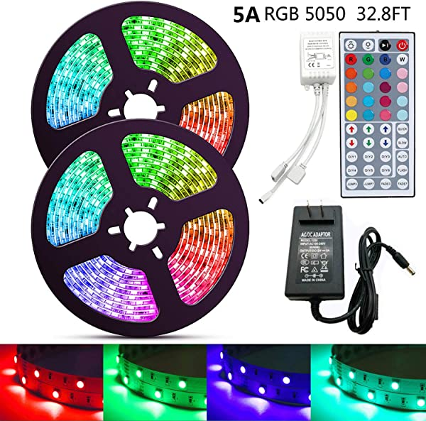 HIKENRI LED Strip Light 32 8ft 300LEDs SMD 5050 RGB Rope Lighting Color Changing Full Kit With 44 Keys IR Remote Controller Power Supply Led Strip Lights For Home Kitchen Bed Room Decoration