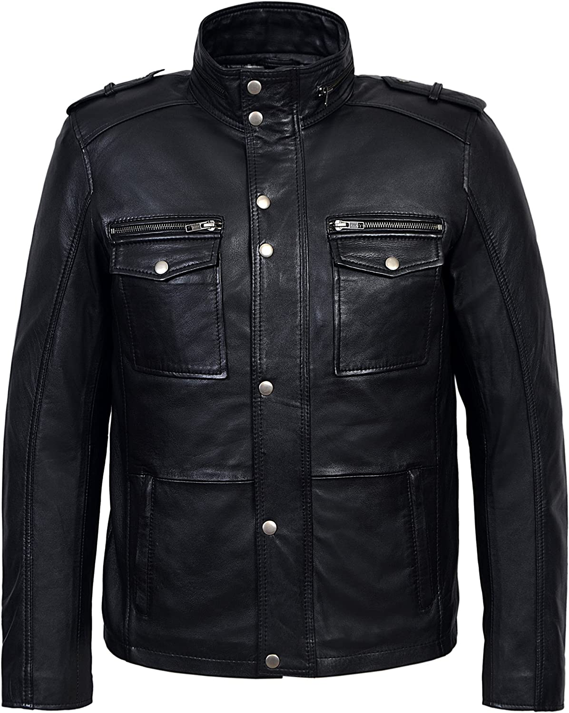 Trojan Men's Real Leather Jacket Casual Fashion 100% Lambskin Biker Style 5540