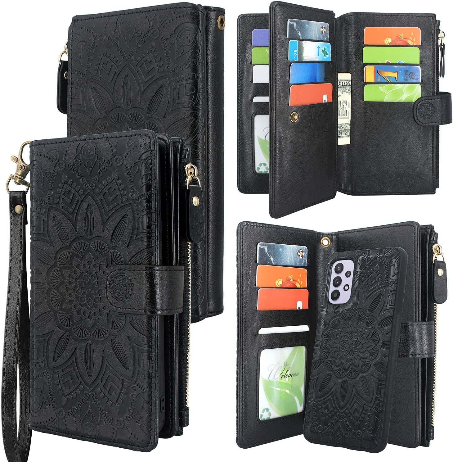 Harryshell Detachable Magnetic Zipper Wallet Leather Case with Cash Coin Pocket 12 Card Slots Holder Wrist Strap Lanyard for Samsung Galaxy A32 5G (2021) Flower (Black)