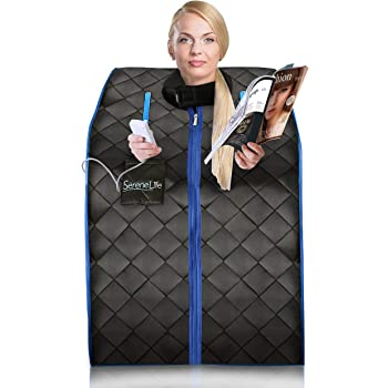 SereneLife Portable Infrared Home Spa | One Person Sauna | with Heating Foot Pad and Portable Chair