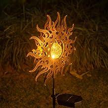 Solar Lights Outdoor Garden,Waterproof Metal Sun Decorative Stakes for Walkway,Yard,Lawn,Patio