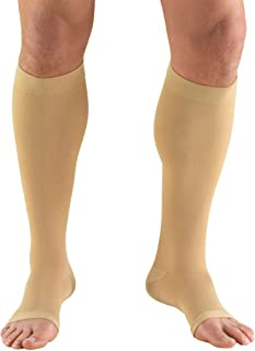 Truform 15-20 mmHg Compression Stockings for Men and Women, Knee High Length, Open Toe, Beige, Large
