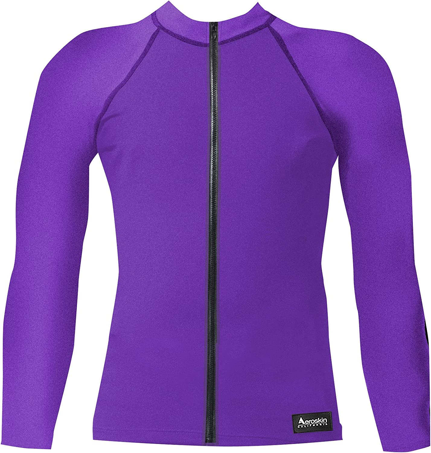 Aeroskin Nylon Long Sleeve Rash Guard with Front Zip, Solid colors (Purple, XLarge)