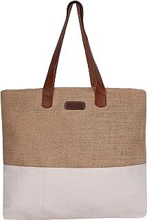 ECOTARA Jute Canvas Laptop/Shoulder/Tote Bag for Woman