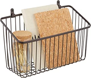 mDesign Hanging Storage Basket – Small Wall-Mounted Metal Wire Basket – Multi-Purpose Organiser Tray for Household Items –...