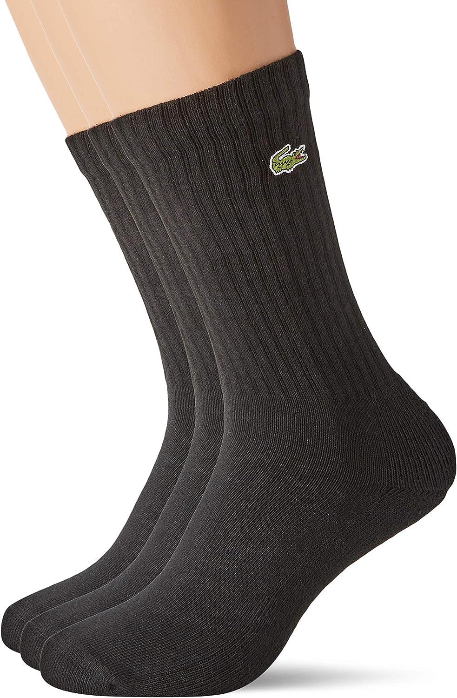 Lacoste Men's 3 Pack Sport High Cut Socks, Black