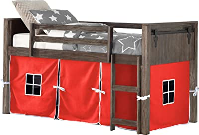 DONCO Twin BARN DORR MODUALR W/RED Tent LOW LOFT, Brushed Shadow