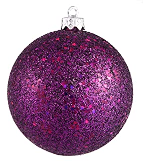 Vickerman Sequin Finish Christmas Ball Ornament Seamless Shatterproof with Drilled Cap, 4 per Bag, 6