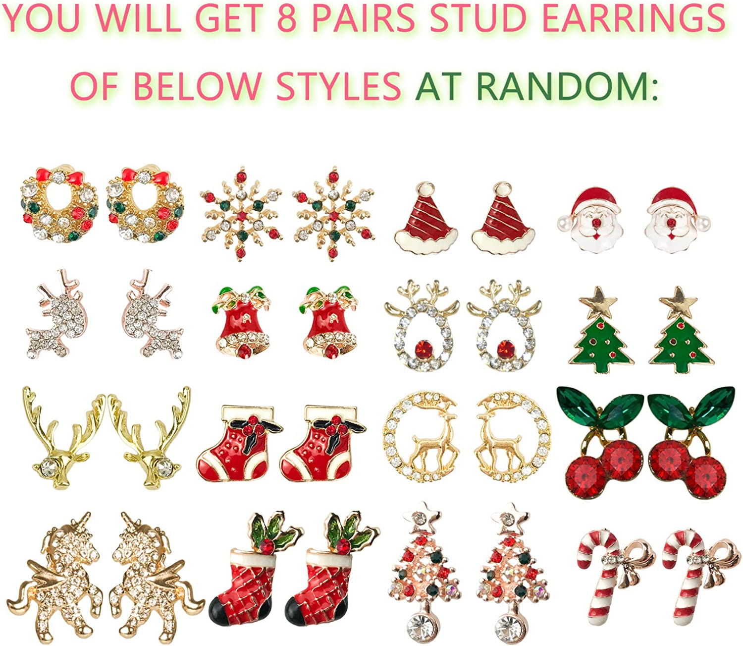 Holiday Party Jewelry Accessories TEZCRT pack of 8 Christmas Themed Stud Earring kit with Delicate Designed Packages Cute Festive Stud Earrings Pack for Teens Girls Women