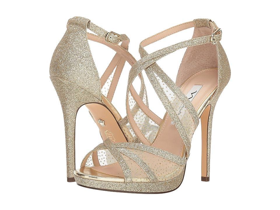 Nina Fenna (Platino Baby Glitter/Gold Snow Dot Mesh) High Heels