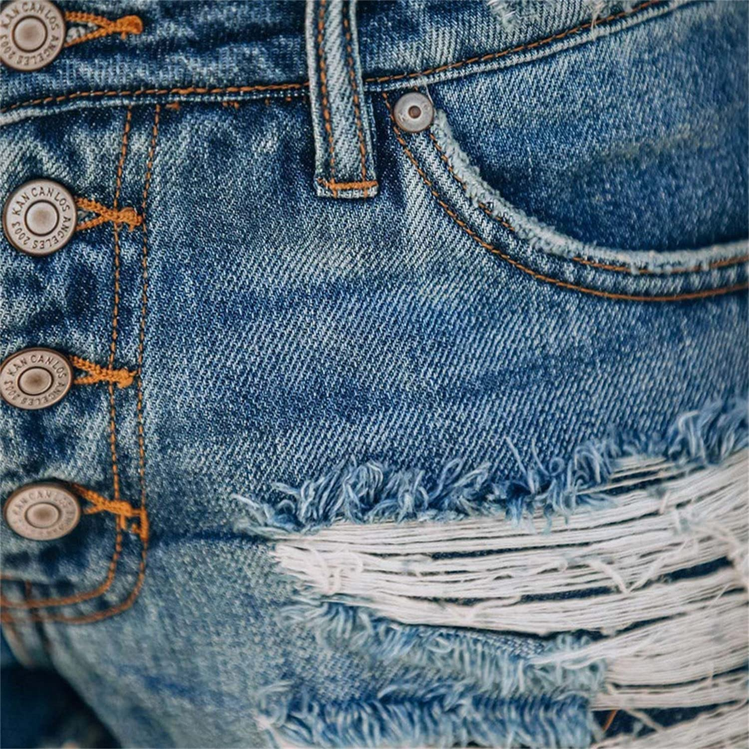 Women's Button Ripped Denim Shorts Frayed Pocket Print Patchwork Jean Shorts Casual Raw Hem Destroyed Short Jeans