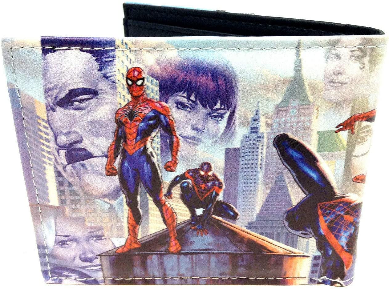 Amazing Spider-Man Group Photo Sublimated Graphic Print PU Faux Leather Men's Bifold Wallet