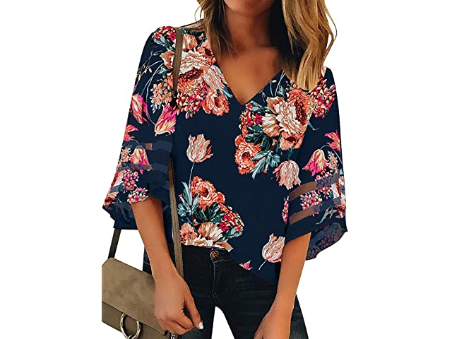 321cb3239e7 AlvaQ Women V Neck Floral Print Bell Sleeve Shirt Casual Loose Tops Blouse