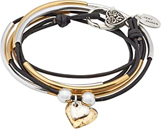 Girlfriend Silver and Gold Wrap Charm Bracelet Necklace w 2 Heart Charms in Natural Black Leather