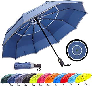 HOSA Auto Open Close Compact Portable Lightweight Travel | Night Safety Reflective Strip | Windproof Waterproof UV Protection Umbrella | for Raining Sunny Days Night Time Use (Dark Blue 42-inch)