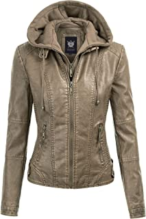 Lock and Love LL WJC877 Womens Panelled Faux Leather Moto Jacket