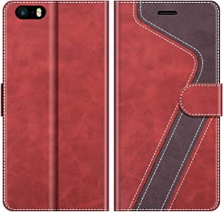 MOBESV Funda para iPhone SE, Funda Libro iPhone SE, Funda Móvil iPhone SE Magnético Carcasa para iPhone SE/iPhone 5S Funda con Tapa, Rojo