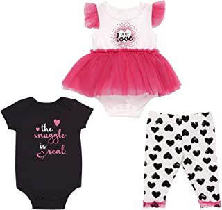 Mini B. by Baby Starters 3-Piece Dress and Playwear Set- Hot Pink/Hearts, 3-6 Months