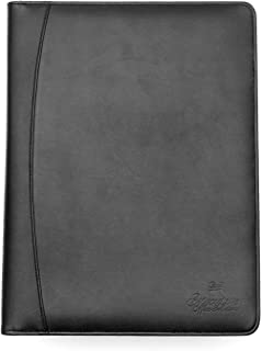 Executive Office Solutions Professional Business Padfolio/Portfolio Case Organizer Resume/Interview Folder Synthetic Leather with Refillable Letter Size Writing Pad - Black (B424)