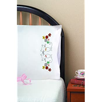 TobinHeart Vine Stamped Pillowcase Pair for Embroidery 20 x 30