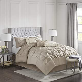 Madison Park Laurel 7-Piece Comforter Set-Mushroom-Queen, Taupe