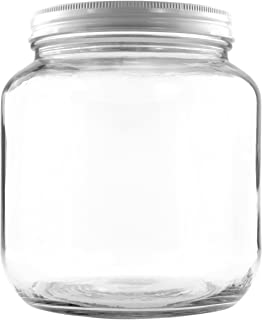 64oz Clear Wide-mouth Glass Jar, BPA free Food Grade w/White Metal Lid (Half Gallon); 2 Quart Jar to Make Greek Yogurt/Kefir or Pickles