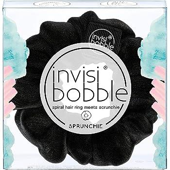 invisibobble SPRUNCHIE, True Black - Spiral Hair Ring meets Scrunchie, No Knink, Strong Hold, Stylisches Armband, 90er Jahre Trend - Geeignet für alle Haartypen