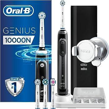 Oral-B Genius 10000N Spazzolino Elettrico Ricaricabile Nero, 4 Testine, Custodia da Viaggio USB, Supporto per Smartphone, 6 Modalità di Spazzolamento tra cui Pro-Clean, Idea Regalo Natale
