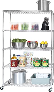 Seville Classics UltraDurable Commercial-Grade 5-Tier NSF-Certified Steel Wire Shelving with Wheels, 48