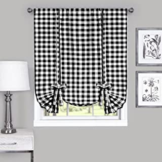 Achim Home Furnishings, Black & White Buffalo Check Window Curtain Tie Up Shade, 42