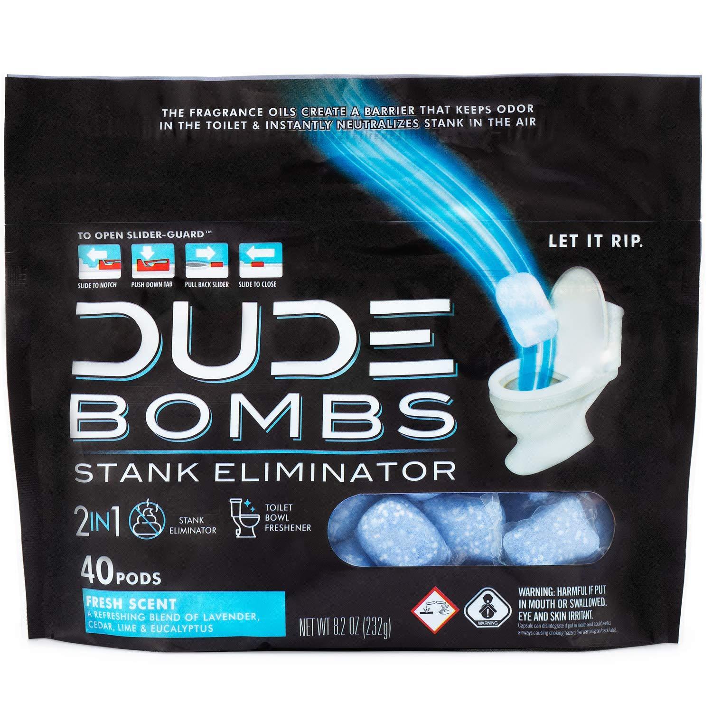 DUDE Bombs Deodorizing Toilet Freshener, Fresh Scent, 40 Pods