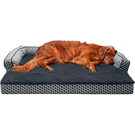 Furhaven Pet - Quilted Orthopedic Living Room Sofa Dog Bed and Plush Faux Fur Orthopedic Comfy Couch Dog Bed with Replacement Covers for Dogs and Cats - Multiple Colors, Sizes, and Styles