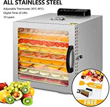Food Dehydrator, 10 Layers Commercial Stainless Steel Fruit Dehydrator, 1000W Professional Adjustable Temperature Control and 0~24 Hours Digital Timer Food Dryer Household with Glass Window