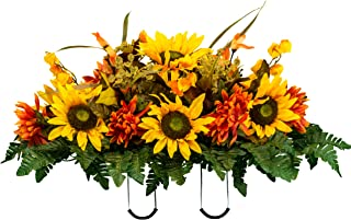 Sympathy Silks Artificial Cemetery Flowers - Realistic - Outdoor Grave Decorations - Non-Bleed Colors, and Easy Fit - Yellow Sunflower and Orange Dahlia- Saddle - for Headstone