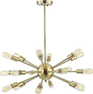 Light Society Sputnik 18-Light Chandelier Pendant, Brushed Bronze, Mid Century Modern Industrial Starburst-Style Lighting Fixture (LS-C115-BRS)
