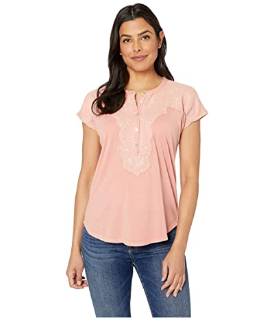 Lucky Brand Washed Applique Henley Top (Coral) Women