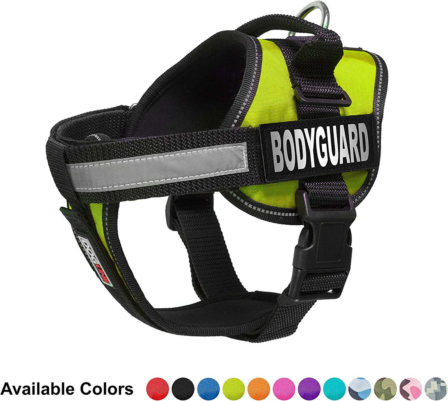 Dogline Unimax MultiPurpose Vest Harness for Dogs and 2 Removable Bodyguard Patches, Medium, Green