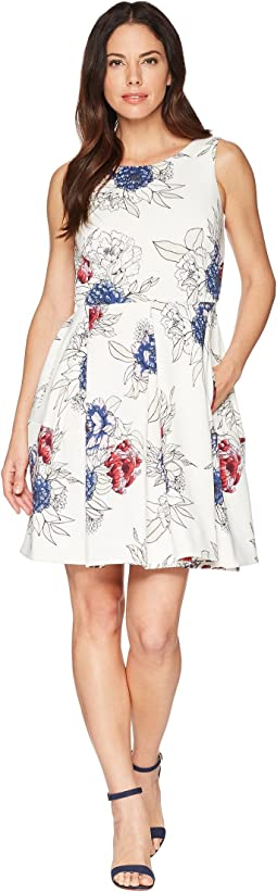 Floral Print Box Pleated Fit and Flare Dress w/ Pockets