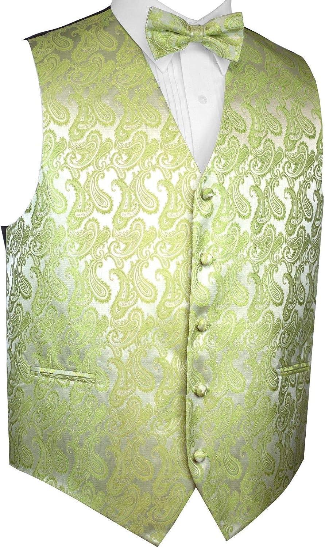 Men's Formal Tuxedo Vest & Bow-Tie Set in Lime Paisley