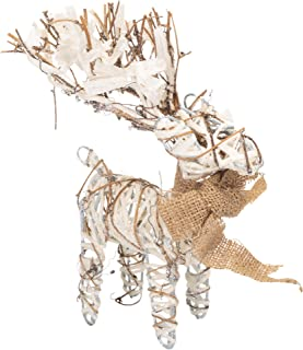 The Royal Standard Grapevine Deer Bow Frosted Brown 10 inch Twig Christmas Holiday Figurine