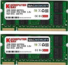 Komputerbay MACMEMORY 6GB Kit (4GB + 2GB Modules) PC2-5300 667MHz DDR2 SODIMM for Apple iMac MacBook Pro