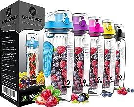 sharpro 32 OZ Fruit Infuser Water Bottle, Flip Top Lid & Dual Anti-Slip Grips, BPA..